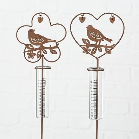 Lille regnmåler med fugl og hjerte