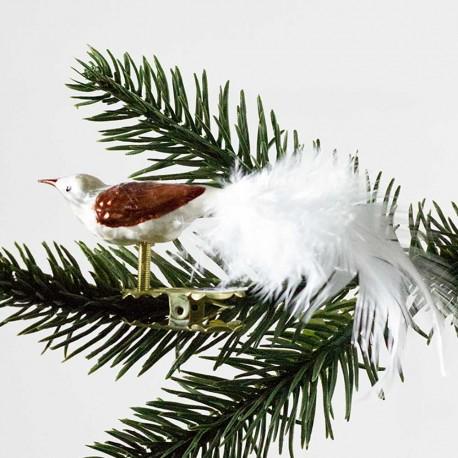 Glasfugl hvid m. brune vinger- Mini