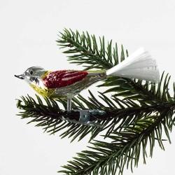 Glasfugl- rød og guld med sne på ryg