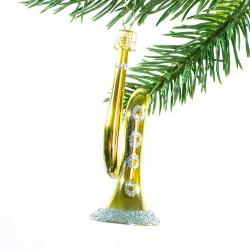 Glaskugle- Trompet- guld sølv knap