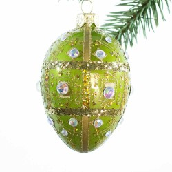 Glaskugle- Fabergé æg - Lysegrøn