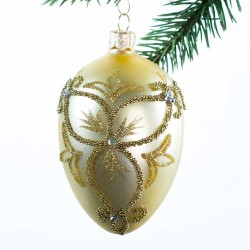 Glaskugle- Fabergé æg- Guld- Trekløver- stor