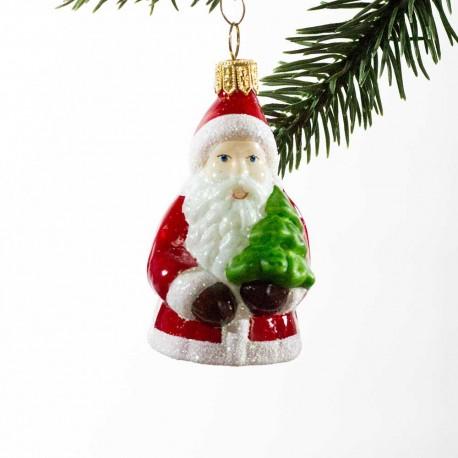 Glaskugle- Julemand med lille juletræ