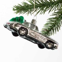 Glaskugle- Bil- Sølv- Juletræ