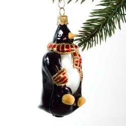 Glaskugle- Pingvin- Rødt halstørklæde