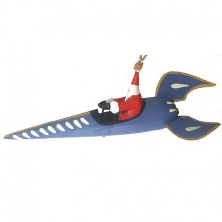 Julemand i blå raket