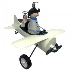 Flyvemaskine med pilot og skytsengel