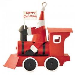 Julemand på rødt tog