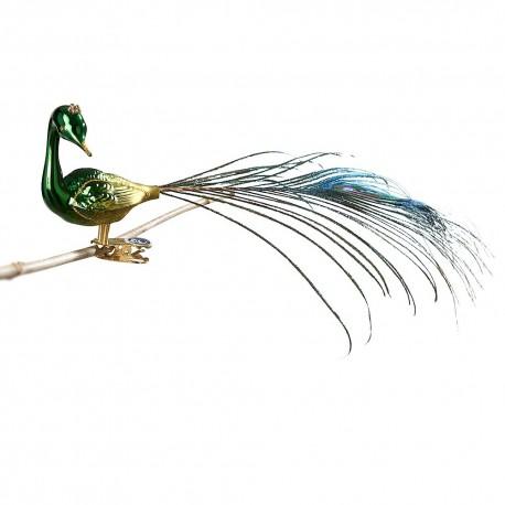 Glasfugl- Påfugl- Drejet hoved- Grøn