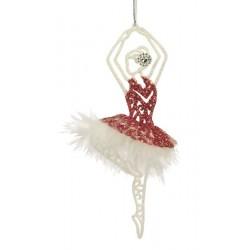 Ballerina i rød med hvid fjerkant