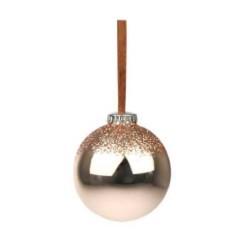 Julepynt- Kugle- Kobber- lys- halv glimmer