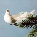 Julepynt- Fugl- Hvid- krølle på halen- Lille