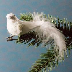 Julepynt- Fugl- Hvid- Glimmer