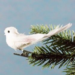 Julepynt- Fugl- Hvid- Glimmer hale og vinger