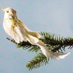 Julepynt- Fugl- Creme- Mønster og palliet