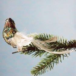 Julepynt- Fugl-  Mønster- Mørk