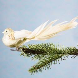 Julepynt- Fugl- Guld- Rosa paillet