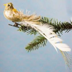 Julepynt- Fugl- Guld- Sten