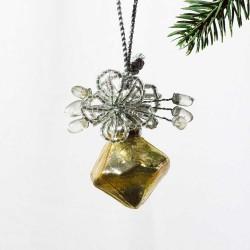 Glaskugle- Guld- Diamant