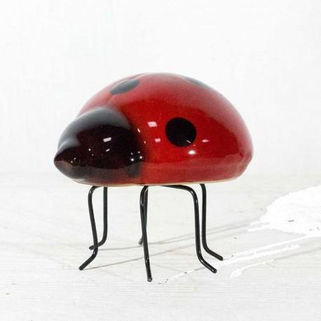 Mariehøne- keramik- rød