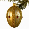 Glaskugle- Fabergé æg- Guld- Stribe- rød sten