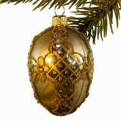 Glaskugle- Fabergé æg- Guld korsmønster
