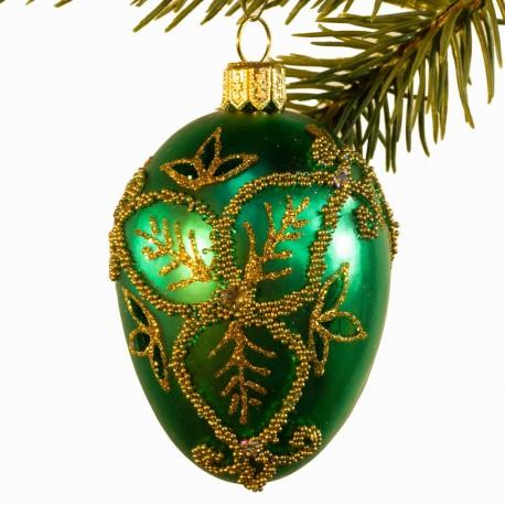 Glaskugle- Fabergé æg- Grøn- Trekløver