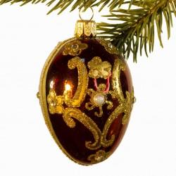 Glaskugle- Fabergé æg- Bordeaux- Ornament