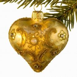 Glaskugle- Fabergé hjerte- Guld- Ornament