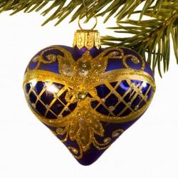 Glaskugle- Fabergé hjerte- Blå- Ornament