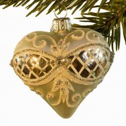 Glaskugle- Fabergé hjerte- Sølv- Ornament