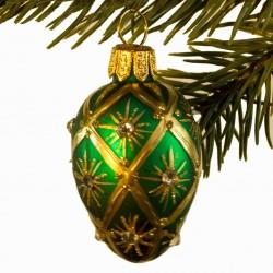 Glaskugle- Fabergé æg- Mini- Grøn- Harlekin Stjerner