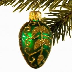 Glaskugle- Fabergé æg- Mini- Grøn- Guld blade