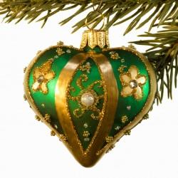 Glaskugle- Fabergé hjerte- Grøn- Stribe