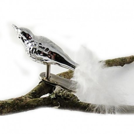 Fugl sølv - Retro julepynt
