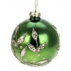 Glaskugle- Grøn- Guld bladranke