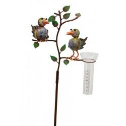 Regnmåler med to fugle på en gren